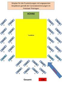 Sitzplan Prunksitzung 51.Saison wg.Corona
